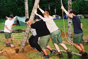 NYLT participants erecting pioneering project