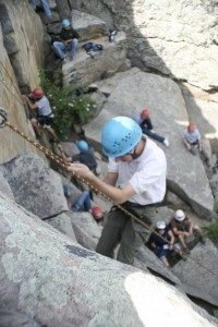 Scouts climbing at Camp Ben DelaTour, outside of Fort Collins - Longs Peak Council BSA photo